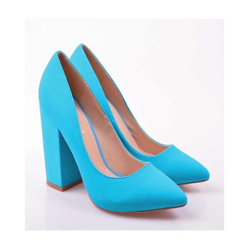 e7a8eae4cd Módne dámske lodičky s hrubým podpätkom modrej farby - fashionday.eu