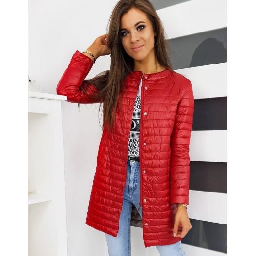 Dlhá prešívaná dámska bunda červenej farby