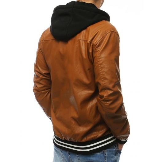 Pánska prechodná kožená bunda s kapucňou