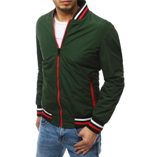 Zelená pánska prechodná bunda bez kapucne