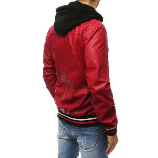 Červená pánska kožená bunda s odnímateľnou kapucňou