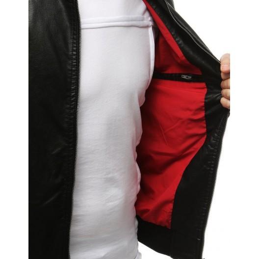 Prechodná kožená bunda čiernej farby pre pánov