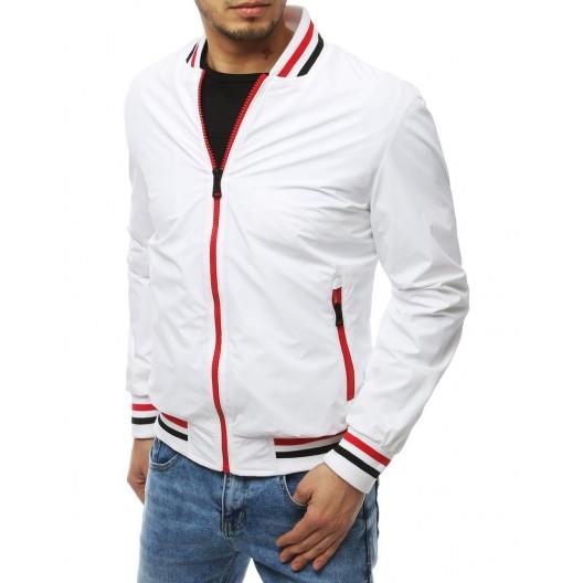 Biela pánska prechodná bunda s červeným zipsom