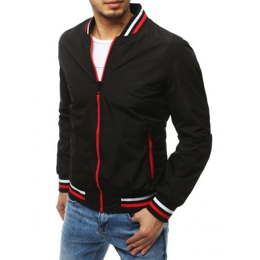 Čierna pánska bunda s červeným zipsom