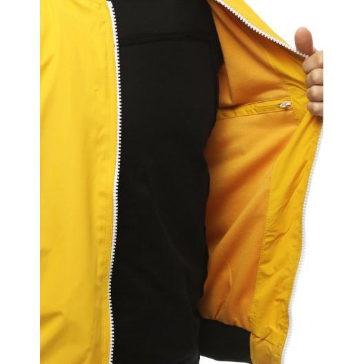 Štýlová prechodná bunda žltej farby bez kapucne