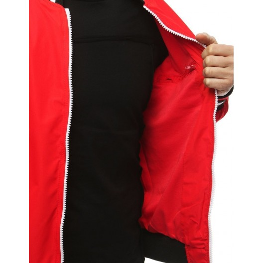 Jarná pánska bunda červenej farby s podšívkou