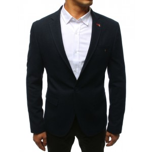 VEĽKOSŤ XL Slim pánske sako v modrej farbe s vreckami