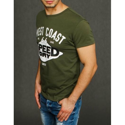 Zelené letné tričko s potlačou a okrúhlym výstrihom