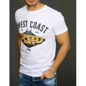 Štýlové biele pánske tričko s krátkym rukávom