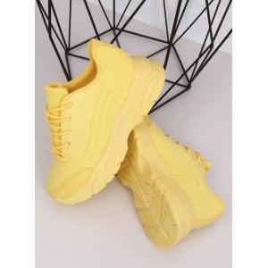 Vysoké dámske tenisky v žltej farbe na leto