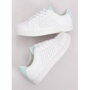 Letné dierkované dámske tenisky v bielej farbe