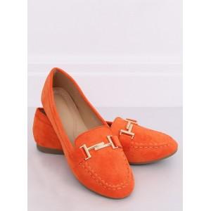Semišové mokasíny pre dámy v oranžovej farbe