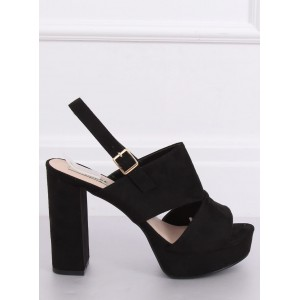 Semišové dámske vysoké sandále v čiernej farbe na leto