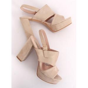 Vysoké sandále pre dámy na platforme v béžovej farbe
