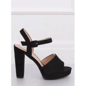 Semišové dámske letné sandále v čiernej farbe