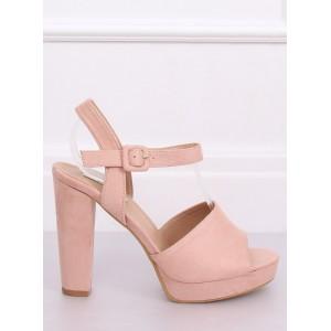 Vysoké dámske sandále na platforme v ružovej farbe