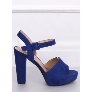 Vysoké dámske semišové sandále v modrej farbe