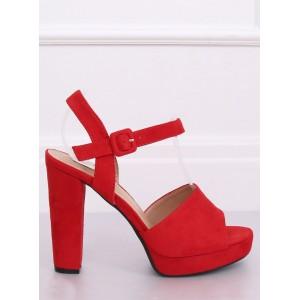 Dámske štýlové sandále na platforme v červenej farbe