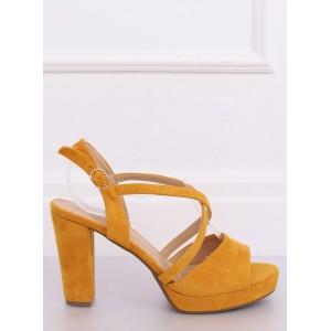 Žlté letné dámske sandále na platforme