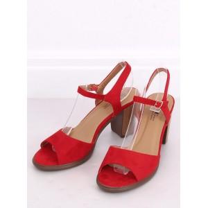 Semišové dámske sandále na leto v červenej farbe
