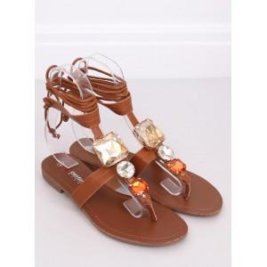 Viazané dámske sandále v hnedej farbe