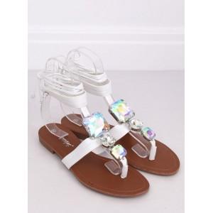 Dámske sandále na nízkom podpätku v bielej farbe