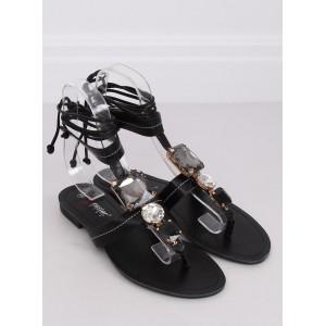 Viazané dámske sandále v čiernej farbe na leto