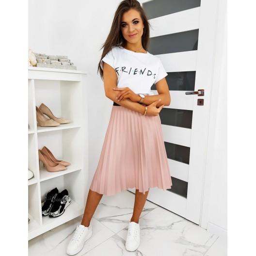 Trendová dámska skladaná sukňa ružovej farby