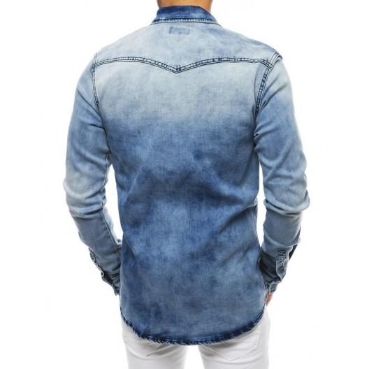 Trendová pánska rifľová košeľa s dlhým rukávom