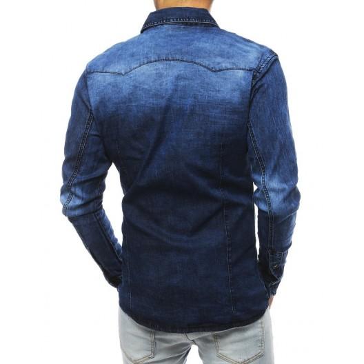 Tmavo modrá rifľová košeľa strihu slim fit pre pánov