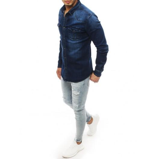 Pánska rifľová košeľa modrej farby s náprsnými vreckami
