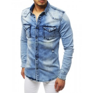 Štýlová rifľová košeľa s módnymi dierami v klasickom strihu