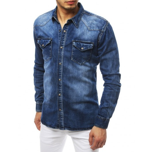Modrá džínsová košeľa strihu slim fit pre pánov