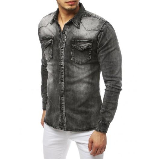 Moderná pánska rifľová košeľa sivej farby