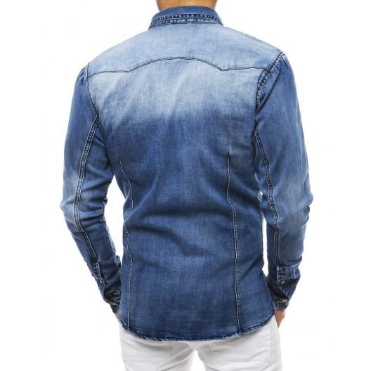 Rifľová košeľa modrej farby s dlhým rukávom