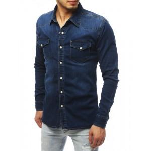 Pánska rifľová košeľa s dlhým rukávom a náprsnými vreckami