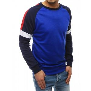 Športová pánska mikina modrej farby bez kapucne