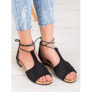 Dámske viazané sandále v čiernej farbe