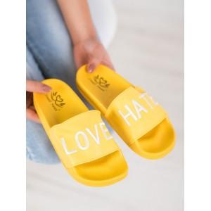 Letné dámske šľapky v žltej farbe s nápisom LOVE