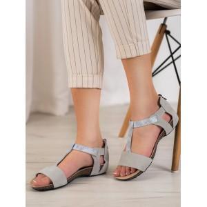 Dámske sandále bez podpätku v sivej farbe