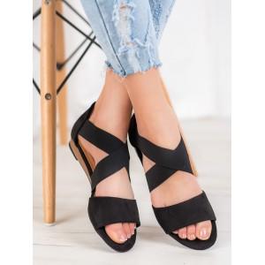 Originálne dámske sandále na leto v čiernej farbe