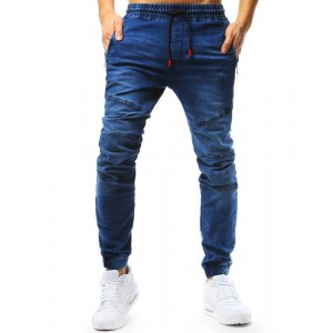 Modré džínsové nohavice typu jogger s vreckami na zips