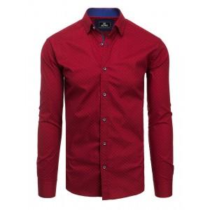 Pánska bordová slim fit košeľa s elegantným vzorovaním