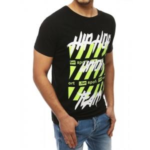 Pánske čierne tričko s okrúhlym výstrihom