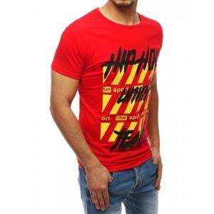 Červené pánske tričko s farebnou potlačou