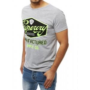 Sivé pánske tričko s krátkym rukávom a s potlačou