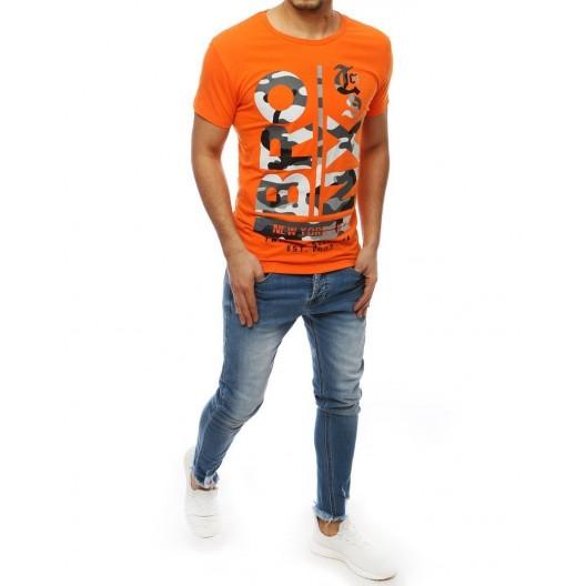 Oranžové pánske tričko s army nápisom