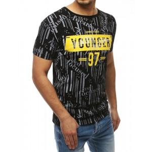 Čierne tričko s okrúhlym výstrihom a potlačou