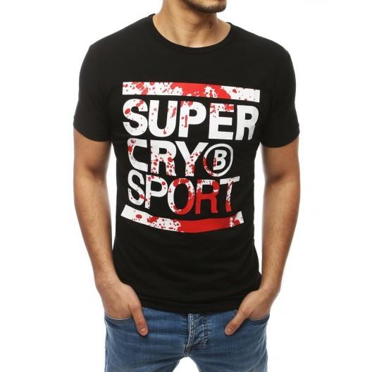 Športové čierne tričko s potlačou na prednej strane