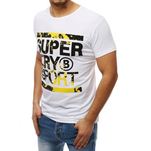 Biele pánske športové tričko s farebným nápisom